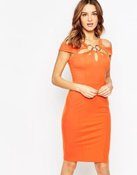 Forever Unique Krista Midi Bandage Dress With Ring Detail Orange