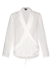 Theory Ilori Shawl Lapel Cross Front Silk Blouse