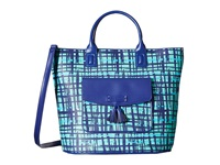 Vera Bradley Tassel Tote Navy Teal Art Plaid Tote Handbags Green