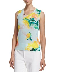 Escada Scoop Neck Carnation Print Tank Multi Colors