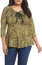 Melissa Mccarthy Seven7 Plus Size Women's Lace Up Peplum Top Abstract Leopard