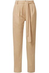 Grey Jason Wu Woman Belted Cotton Blend Twill Tapered Pants Sand