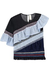 Peter Pilotto Octave Ruffled And Shirred Cotton Blend Blouse Multi