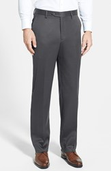 Men's Big And Tall Berle Flat Front Wool Gabardine Trousers Medium Grey