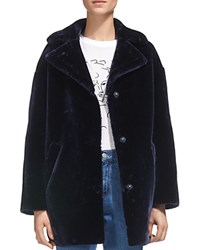 Whistles Yara Faux Fur Cocoon Coat Navy