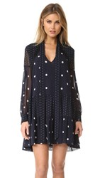 Nicholas Spot Print Shirt Dress Navy Spot