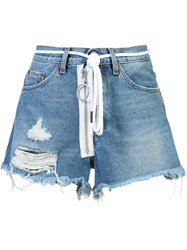 Off White Auction House Denim Shorts Blue