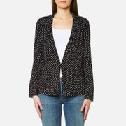 Maison Scotch Women's Basic Printed Drapey Blazer With Contrast Piping Black