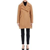 Brushed Melton Double Breasted Swing Coat Camel