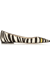 Jimmy Choo Embellished Zebra Print Calf Hair Point Toe Flats