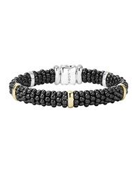 Black Caviar Rope Bracelet With Gold 9Mm Lagos