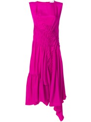 Koche Midi Draped Dress Silk Pink Purple