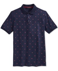 Sean John Men's Geometric Print Polo Navy