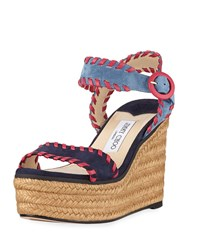 Jimmy Choo Abigail 100Mm Whipstitched Espadrilles Navy Raspberry