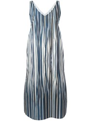 Stephan Schneider Striped Midi Dress Women Cotton L Blue