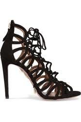 Aquazzura Oh Lala Lace Up Suede Sandals Black