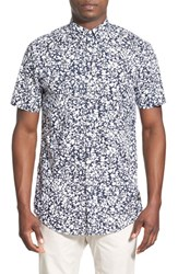 Men's Zanerobe 'Seven Ft Dry Ice' Trim Fit Longline Short Sleeve Print Woven Shirt