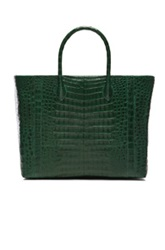 Nancy Gonzalez Large Crocodile Tote In Green Animal Print