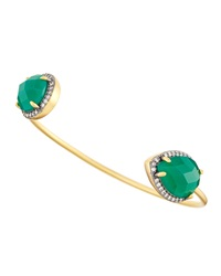 Freida Rothman Belargo Green Crystal And Cz Geometric Cuff Bracelet