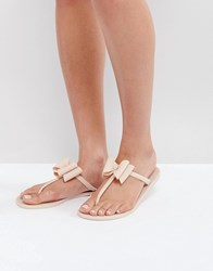 Lipsy Jelly Sandals With Bow Detail Nude Pink