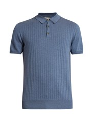 Editions M.R Ribbed Knit Cotton Polo Shirt Blue