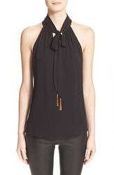 Milly Stretch Silk Tassel Halter Top Black