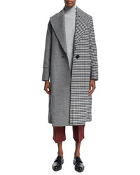 Edun Raw Edge Plaid And Houndstooth Long Coat Gray Grey
