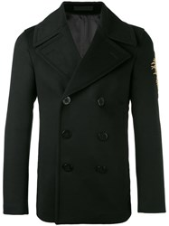 Alexander Mcqueen Embroidered Patch Coat Men Cotton Viscose Cashmere Virgin Wool 54 Black