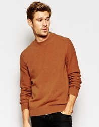 Boss Orange Jumper With Reverse Seam Crew Neck Tobacco