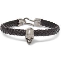 Alexander Mcqueen Braided Leather And Burnished Silver Tone Skull Bracelet Black