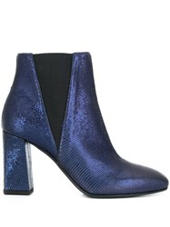 Pollini Textured Crocodile Ankle Boots Blue