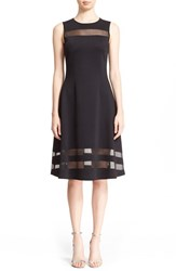 Women's St. John Collection Transparent Stripe Shine Milano Knit Fit And Flare Dress Caviar