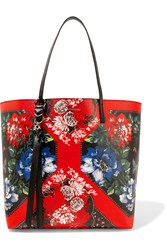 Alexander Mcqueen Floral Print Textured Leather Tote One Size