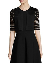 Lela Rose Half Sleeve Windowpane Lace Bolero Black