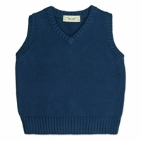 Chateau De Sable French Designer Knitted Tank Top Navy Blue