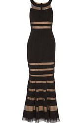 Mikael Aghal Fluted Paneled Tulle And Stretch Cady Gown Black