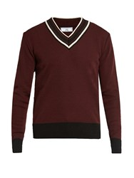 Ami Alexandre Mattiussi V Neck Wool Sweater Burgundy