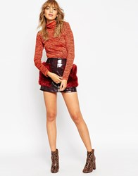 Asos Mini Skirt In Patent Leather With Faux Fur Pockets Oxblood