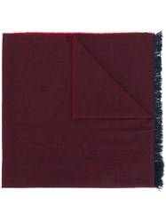 Kiton Fringed Edge Scarf Red