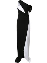 Thierry Mugler Bicolour One Shoulder Gown Black
