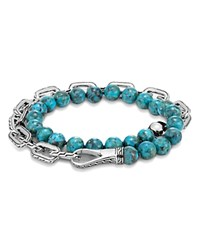 John Hardy Sterling Silver Classic Chain Turquoise With Black Matrix Double Wrap Beaded Bracelet Blue Silver
