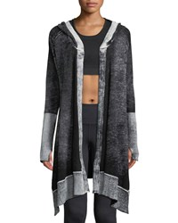 Blanc Noir Huntress Hooded Open Front Cardigan Black