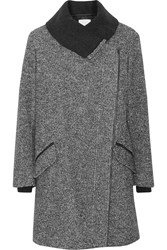 Vince Leather Trimmed Wool And Cotton Blend Coat Gray