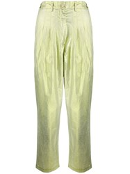 8Pm Metallized Creased Trousers Green