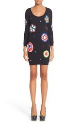 Moschino Women's Flower Patch Embroidered Wool Dress