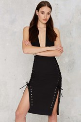 Nasty Gal Lavish Alice Femme In Charge Lace Up Pencil Skirt