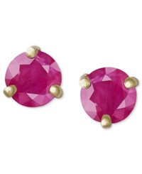 Macy's 14K Gold Earrings Ruby Stud 1 Ct. T.W.