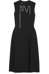 Christopher Kane Squiggle Cupchain Embellished Cutout Crepe Midi Dress Black