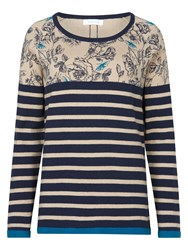 Tulchan Rose And Stripe Jumper Blue