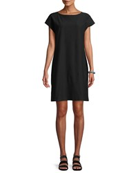 Eileen Fisher Short Sleeve Stretch Crepe Tunic Black